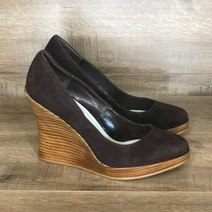 Bakers Brown Suede Leather Stacked Wood Wedge Heel
